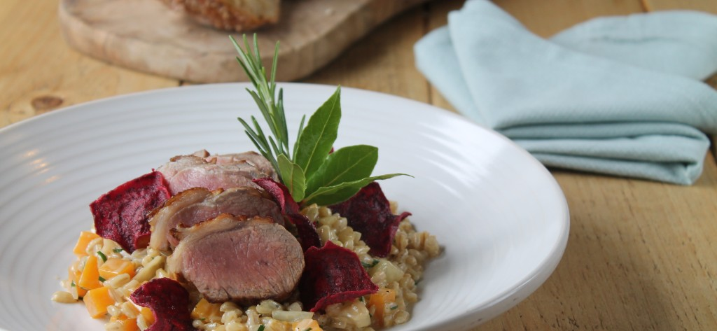Lamb and butternut squash risotto