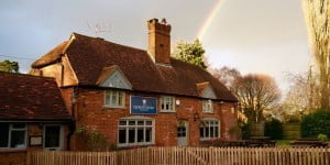 Rainbow over the pub